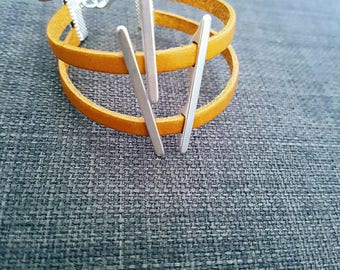 Silver wire and genuine camel colored leather bracelet