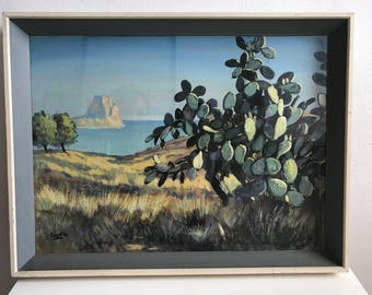 Vintage mid century style painting cactus landscape seascape ocean sea vernon ward era