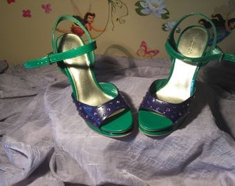 Joker cosplay shoes, art shoes, reverse gender costume, handmade shoes, size 6, high heel sandals, crystals shoes, DC Universe