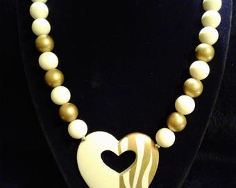 Gold and White Large Beaded Necklace with Heart Pendent