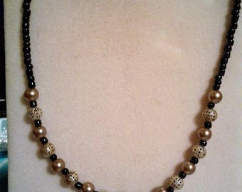 Black and Silver Beaded Necklace #219