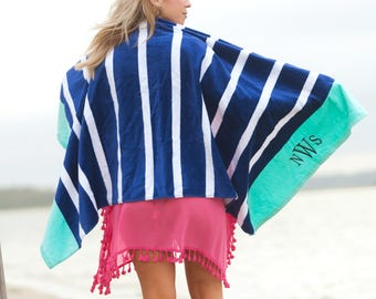 Navy Beach Towel| Beach Towel| Personalized Beach Towel| Monogram Towel| Embroidery Beach Towel Stripe Towel| Preppy Towel| Custom Towel