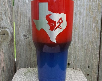 Houston Texas sports team tumbler with chameleon glitter by Drink Unique