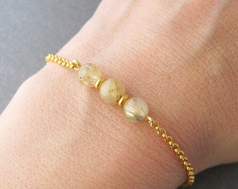 Bracelet beads yellow 24 k gold plated 925 sterling silver rutilated quartz