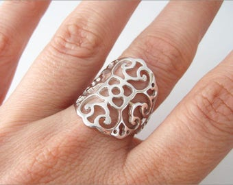 Perforated ring Silver 925/1000th arabesque lace