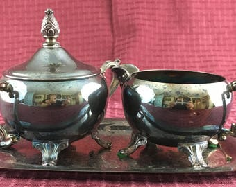 International Silver Company Silver Plated Sugar and Creamer with Tray