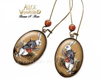 Earrings * Alice in Wonderland * bronze rabbit costume jewelry