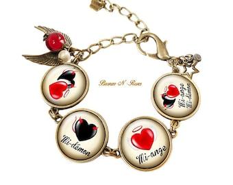 Bracelet half Angel half-demon black and Red angels and demons bronze-n-roses