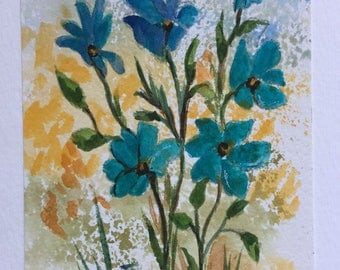 Blue flowers Greeting Card/Blue flowers/Watercolor Greeting Card/5 x 7 greeting card/Card and envelope/Floral greeting card/