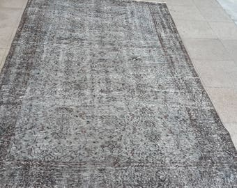 Carpet.260x157cm,8.53x5.15Turkish carpet grey,Rug,grey rug,Turkish grey rug, free shpping