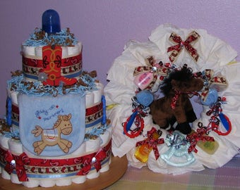 Diaper Cake and Diaper Wreath Package Set- Diaper Cakes for Boys, Diaper Wreaths for Girls, Diaper Wreaths, Diaper Cakes, Baby Shower Gifts