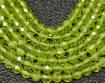 16 inch Natural Faceted Peridot Beads-2mm approx200beads -3mm approx 133beads  4mm approx 100beads Gemstone Beads-Jewelry making supplies