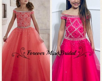 Grace Dress Pageant Ball Gown Flower Girl Dress With Beading
