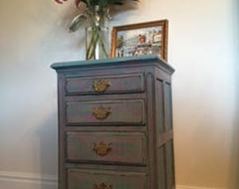 Whimsical hand painted oak bedside