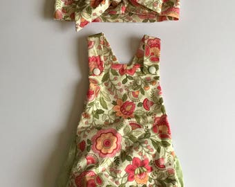 Spring Romper with Matching Head Wrap