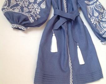"Boho Ukrainian Blue dress with white embroidery ""French knot"" / vyshyvanka/ Bohemian/Ukrainian Embroidery/Folk/Sarafan/ XS-4XL"