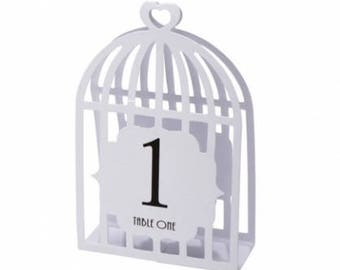 White kraft ivory birdcage wedding table numbers 1-15