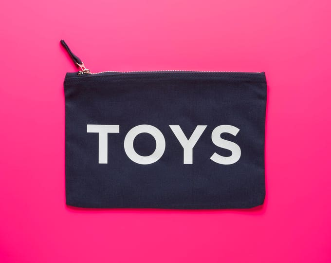 Featured listing image: TOYS! Navy cotton Toy bag