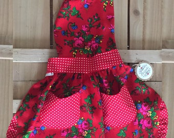 Red Floral Polish Goralski Kid Fartuch (Apron)