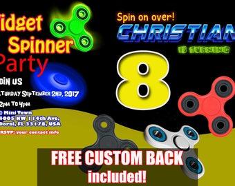 Fidget Spinner Birthday Invitation, Fidget Spinner Invitation, Boy Birthday, Girl Birthday, Red White Black Gold, Personalized & Custom