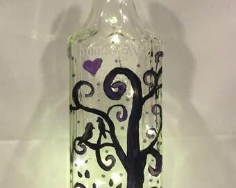 Lovebirds Bottle Light, Hand Painted Bottle Light, Tequila Bottle Light, Dorm Room, Dorm Decor, Night Light, Fairy Light, Home Decor, Gift