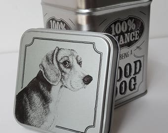 Beagle Metal Dog Training Treat Storage Container