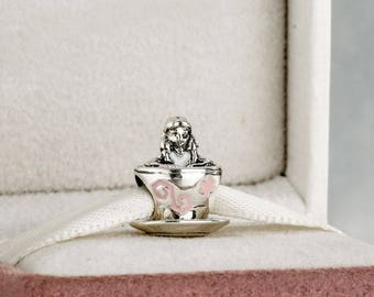 Disney Alice in Wonderland Teacup Charm, Sterling Silver with Enamel,  Charm Fits to all Pandora Charm Bracelets