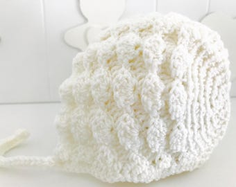 Cap baby Bonnet created in crochet with pure merino supersoft wool.