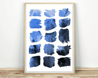 Blue Abstract Art - Printable Art, Boho Wall Print, Home Decor Print, Watercolor Wall Art, Modern Art Decor, Ink Painting, Abstract Wall Art