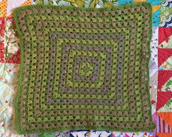 Crochet Baby Blanket, softest wool. 'Dartmoor' granny square