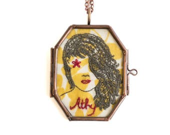 Hand embroidered Necklace pendant, Boho Jewellery, Statement Necklace, Quirky Necklace, Unique Jewellery, Gift for her, Antique Inspired