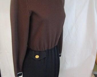 ST. John Marie Gray SZ 4 Brown Black LS Knit Dress Mint Condition  Belt Missing