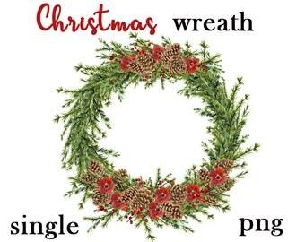 Christmas wreath clipart, Christmas wreath digital, Christmas clipart, Christmas digital, green branch clipart, green Christmas wreath