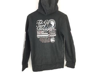 T&C Surf Design Ying Yang Hawaii Surfing Long Sleeve Hoodies with Pink Arm stripes Large Size