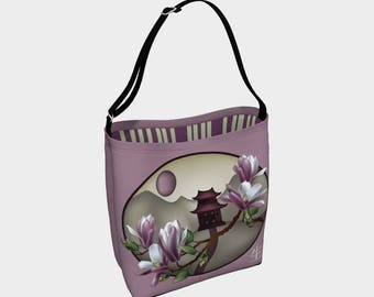 Tote bag - Magnolia landscape - Woman bag - Gift for woman - Gift - Asian - Fashion bag - Asian landscape - Asian bag - Purse - Gift for her