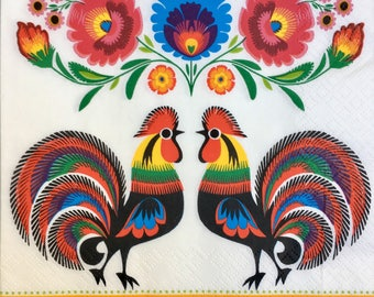 Decoupage Napkins x4, Paper Napkins for Decoupage Craft Papercraft Collages Scrapbooking Polish Folk Flowers Roosters 291