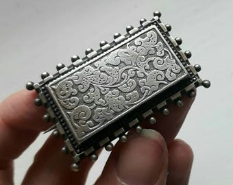 Antique Silver rectangular sweetheart brooch pin sweet heart chased design victorian