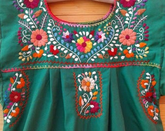 Traditional Mexican hand embroidered dress 8 years