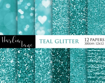 75% OFF SALE Teal Glitter and Bokeh Digital Paper, Scrapbooking Paper, Wedding Invitaion Paper