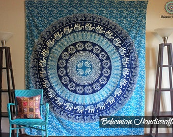 Wall Tapestry Mandala Wall Hanging Wall Decor Bohemian Wall Tapestries Blue Wall Art Boho Decor Bedroom Wall Decor Dorm Decor Yoga Gift Bed