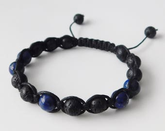 Mens bracelet - Shamballa Style bracelet - Lapis Lazuli bracelet - Lava Stone bracelet - Beaded bracelet