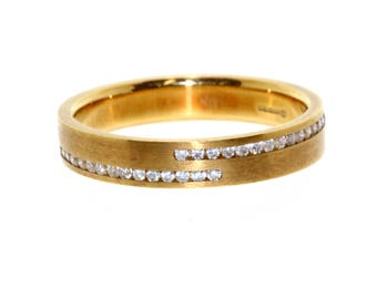 18ct Gold Two Row Natural Diamond Set Band.Wedding Band,Eternity Ring,Dress Ring,Occasion Ring,Promise Ring,Stack Ring. 16th,18th,21st Gift