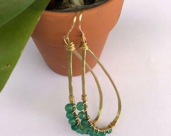 Jade & Brass Hoops