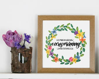 New Every Morning, A4, hand lettered, wall art, Christian Prints, Christian Gifts