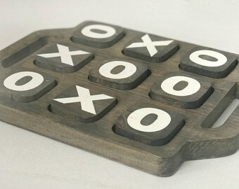 Wood Tic Tac Toe - Classic Board Game - Tic Tac Toe Game - Tic Tac Toe Board - Rustic Wood Game - Travel Board Game- Stocking Stuffer