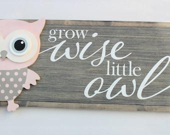 Owl Nursery Sign - Farmhouse Nursery Sign- Pink Owl Wall Art - Owl Nursery Decor - Baby Shower Gift - Baby Girl Gift - Baby Girl Nursery