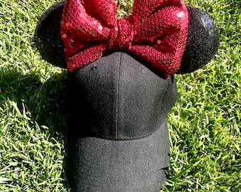 Minnie Bow Mickey Ears Hat - Mickey Minnie Ear Cap Hat Disney ears- Mickey Ears - Mickey Ears Hat