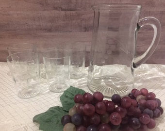 Vintage, Pitcher, Glassware, Etched Glass, Grape Pattern
