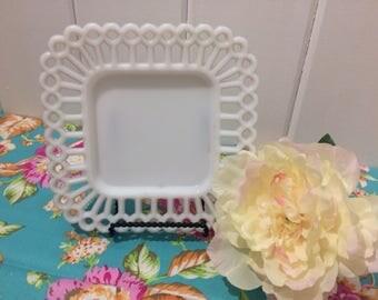 Vintage Milk Glass, Salad Plate, Westmoreland, Doric Lace