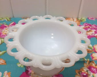 Vintage Milk Glass, Anchor Hocking, Compote, White, Lace Edge